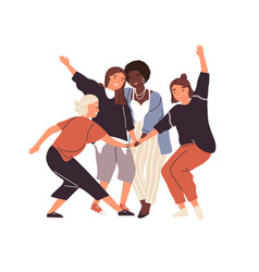 happy diverse female friends putting hands vector image
