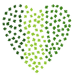 Heart shaped irish background made of green vector