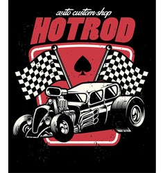 Hot rod auto custom shop badge vector