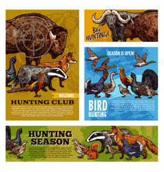 hunting animals and birds with hunter target vector image