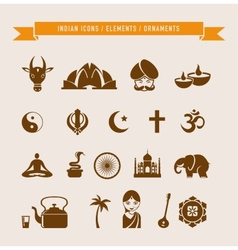 India - collection of icons and elements vector image