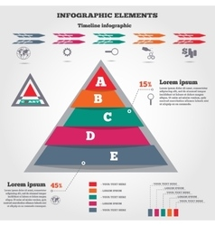 Infographics elements Pyramid chart timeline vector image