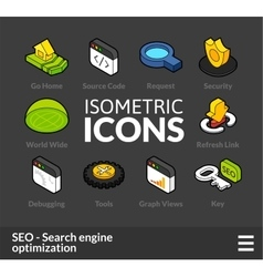 Isometric outline icons set 8 vector