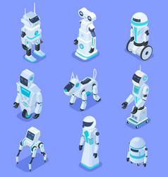 isometric robots isometric robotic home assistant vector image