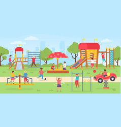 kids playground at park group children playing vector image