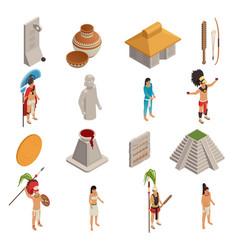 Maya civilization isometric icons vector