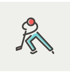 Moving hockey player thin line icon vector image