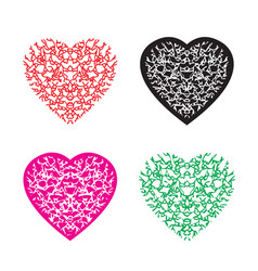 Multicolour heart pattern set vector