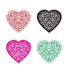 Multicolour heart pattern set vector