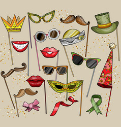 mustache glasses magician s hat and lips vector image