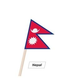 Nepal Ribbon Waving Flag Isolated on White vector