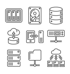 Networking file share and nas server icons set vector