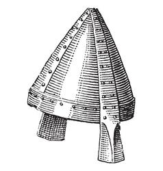 Norman helmet vintage engraving vector image