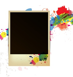 old frame on watercolor paint background vector image