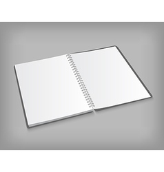 opened blank notebook on gray background vector image