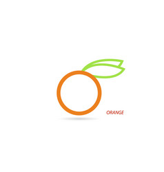 Orange with leaves on a white background vector