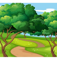 Park scene with trail and trees vector
