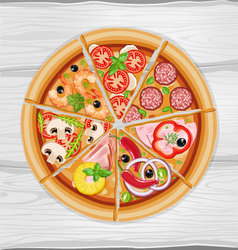 Pizza slice assorted vector