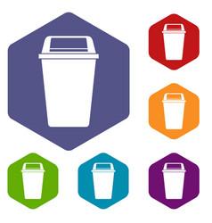 Plastic flip lid bin icons set hexagon vector
