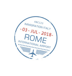 rome international visa stamp isolated sign vector image