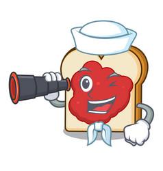Sailor with binocular bread with jam mascot vector