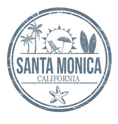 Santa monica grunge rubber stamp vector