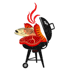 Sausages steak and grilled fish vector
