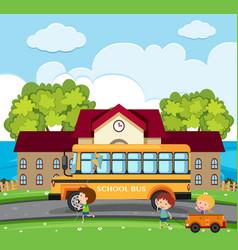 school scene with kids and school bus vector image