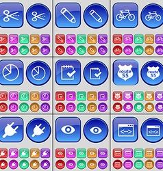 Scissors Pencil Bicycle Diagram Survey Badge vector
