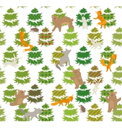 Seamless green pattern with trees and animals vector image