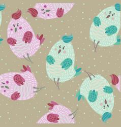 Seamless pattern with cartoon cute blue bird vector