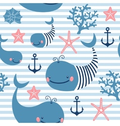 Seamless pattern with cute whales vector image