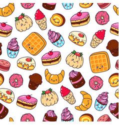 Set of cartoon doodle icons dessert cake vector