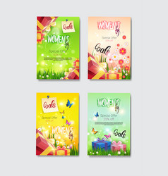 set of discount greeting cards international women vector image