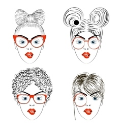 Set of drawing women faces with haircuts vector