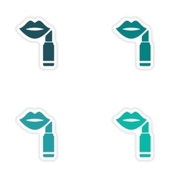 Set of paper stickers on white background lipstick vector
