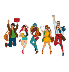 Sketch young teen students jumping set vector