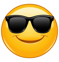 Smiling emoticon with sunglasses vector