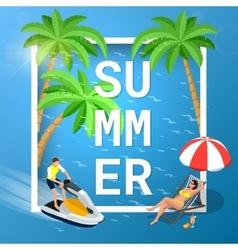 Summer concept sandy beach idyllic travel vector