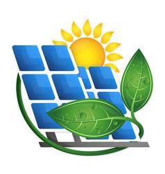 Sun and solar panels eco vector