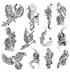 tattoo art design bird collection vector image