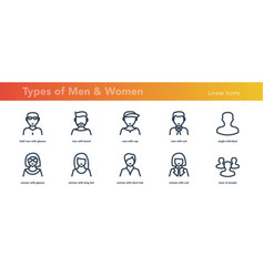 Ten linear avatars men and women faces vector