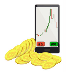 Trading bitcoins in a smartphone vector