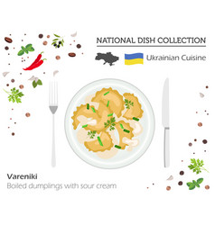 ukrainian dumplings with sour cream european vector image