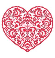Valentines Day folk art red heart - Polish pattern vector