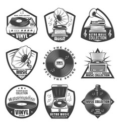 Vintage monochrome gramophone labels set vector