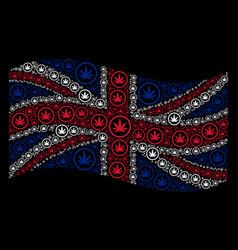 Waving united kingdom flag mosaic of cannabis vector