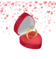 wedding ring bridal diamond in 3d style vector image