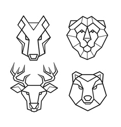 Wild animals geometric head set vector
