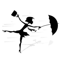 windy day and woman with umbrella silhouette vector image